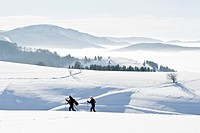 Two persons snowshoeing at mount Schauinsland, Freiburg im Breisgau, Black Forest, Baden_Wuertemberg, Germany
