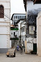 People in a street in Stonetown, Zanzibar City, Zanzibar, Tanzania, Africa