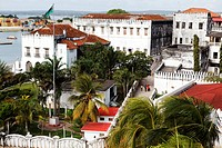 View over Beit_el_Sahel and the old customs house, Stonetown, Zanzibar City, Zanzibar, Tanzania, Africa