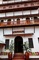 Facade of the Swahili House hotel, Stonetown, Zanzibar City, Zanzibar, Tanzania, Africa
