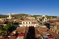 Panoramic view over Trinidad, Plaza Mayor, Convent de San Francisco, Cuba, Greater Antilles, Antilles, Carribean, West Indies, Central America, North ...