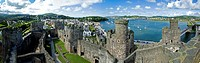 Panorama of Conwy Castle in Conwy, Wales, UK