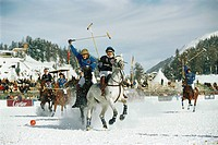 People playing polo in the snow, St. Moritz, Grisons, Switzerland, Europe