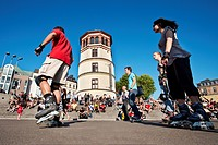 Skater in front of Schlossturm, Old town, Duesseldorf, Duesseldorf, North Rhine_Westphalia, Germany, Europe