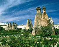 Rock formations in the Goreme Valley, Cappadokia, Turkey