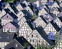 Row of half timbered houses in Freudenberg, North Rhine_Westphalia, Germany