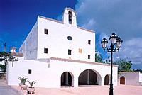 White church in Sant Josep, Spain, Ibiza