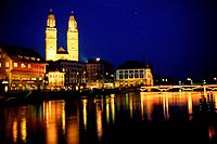 View above the Limmat to the Grossmuenster, Zurich, Switzerland