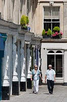 The white female sculptures around the buildings at Montpellier Walk in the Spa town of Cheltenham