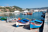 Traditional fishing boats called Aiolas at the fishing harbour of Sesimbra Setubal district, Portugal