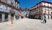 Arco da Porta Nova Gate in Braga, Portugal  A Baroque Monumental Arch built in the 18th century to be the main city gate