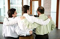 Three Business Men Arm in Arm