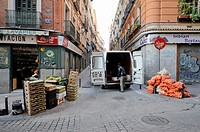 Man delivering fruit in Lavapies, Madrid
