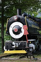 Porter 50 ton saddle tank engine locomotive on display at Loon Mountain along the Kancamagus Scenic Byway in Lincoln, New Hampshire, USA