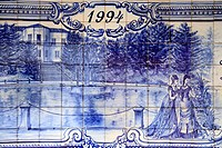 Detail of azulejo mural depicting victorian ladies next to the thermal pool in Terra Nostra Park, Furnas, Azores