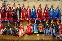 Coloured puppets for sale in the streets of Jaisalmer, Rajasthan, India
