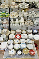 Empty tea cups and saucers for sale in New Market , Dhaka , Bangladesh