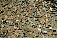 Aerial view of worli slum , Bombay , Mumbai , Maharashtra , India