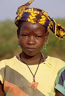 Near Niamey, Niger  Young Fulani Woman with Facial Scarification