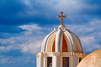 Dome and Cross From Santorini, Greece