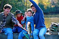 Family Catching Fish
