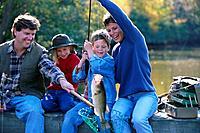 Family Catching Fish