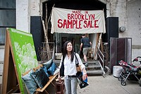 Visitors to the Dumbo Arts Festival in Brooklyn in New York visit a Made in Brooklyn Sample Sale featuring merchandise produced locally