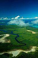 An estuary river on the Mozambique coast off the Indian Ocean.