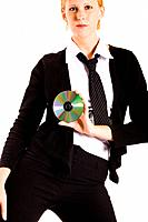Business woman posing with a CD