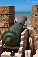 Close up of a canon on the city walls, Essaouira, Morocco