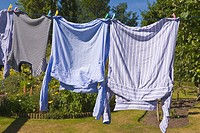 Washing hanging on clothes line
