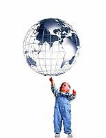 Toddler Reaching for Globe