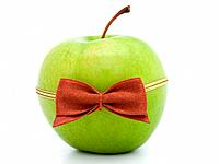 green apple with bow_tie