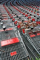 Shopping trolleys of supermarket