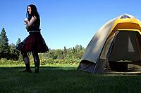 Goth girl camping