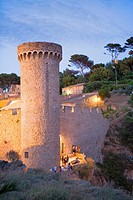 Tossa de Mar  Wall of the old city Villa Vella Costa Brava  Girona province  Catalonia  Spain