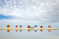 colourful beach chairs at Norddorfer Strand, Germany, Schleswig_Holstein, Amrum