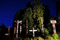 totem poles at Stanley Park at night, Canada, British Columbia, Vancouver