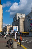 Bus stop Tamka street central Warsaw Poland Europe