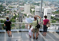 visitors on the observation deck of RWE tower with of Essen, Germany, North Rhine_Westphalia, Ruhr Area, Essen
