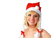 girl in santa cloth