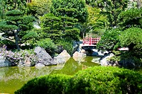 traditional Japanese garden with wooden red bridge, France, Monaco
