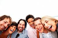 Closeup portrait of successful business team laughing together