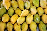 mango Mangifera indica, fruits at a market stand, Thailand, Krabi