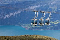 cableway with Lake Thun and mountains, Niederhorn, Switzerland