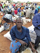 refugee camp for internally displaced people in northern Uganda around Gulu, the non_governmental organisation ´Norwegian Refugee Council´ is distribu...