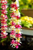 Hawaii, Maui, Wainapanapa, Lei and fruit stand
