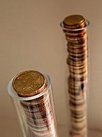 Euro coins in tubes