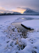 Vermilion Lakes and wetlands in winter, Banff National Park, Alberta, Canada.