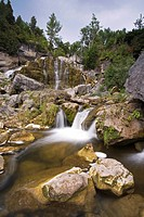 Inglis Falls on the Niagara Escarpment, flowing water in summer, Owen Sound, Ontario, Canada.